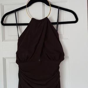 Brown Lined High Neckline Dress